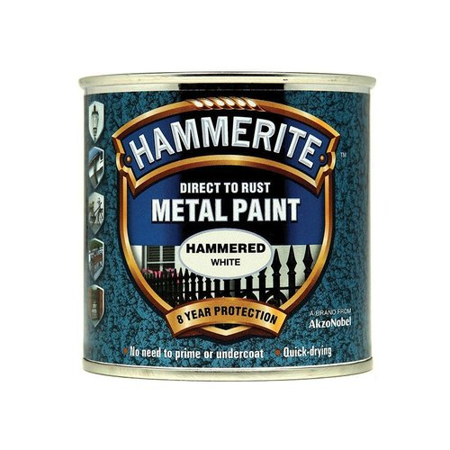 Direct to Rust Hammered Finish Paint White 250ml