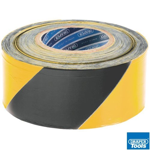 500M x 75mm Black & Yellow Barrier Tape Roll