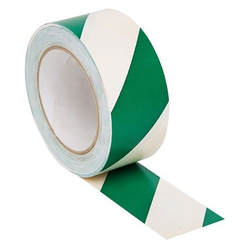 Green/White Hazard Adhesive Tape 50mm x 33mtr