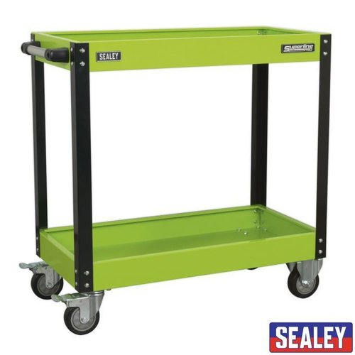 Workshop Trolley 2-Level Heavy Duty - Hi-Vis Green