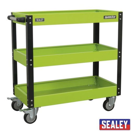 Workshop Trolley 3-Level Hvy Duty - Hi-Vis Green