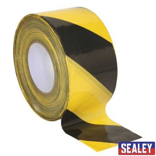 Hazard Barrier Tape 80mm x 100m Black/YellowNon-Adhesive