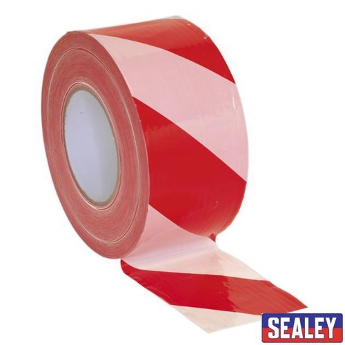 Hazard Barrier Tape 80mm x 100m Red/WhiteNon-Adhesive