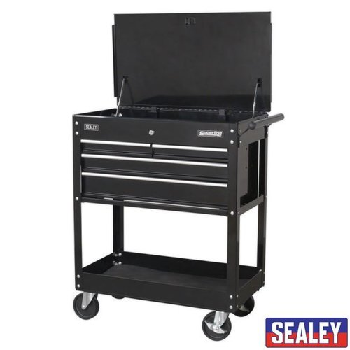 HD Mobile Tool/Parts Trolley 4 Drawer + LockableTop - Black