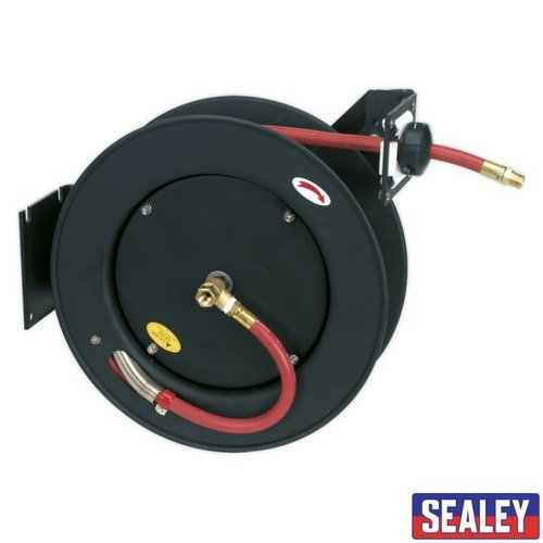 Retractable Air Hose Metal Reel 15m 10mm ID RubberHose
